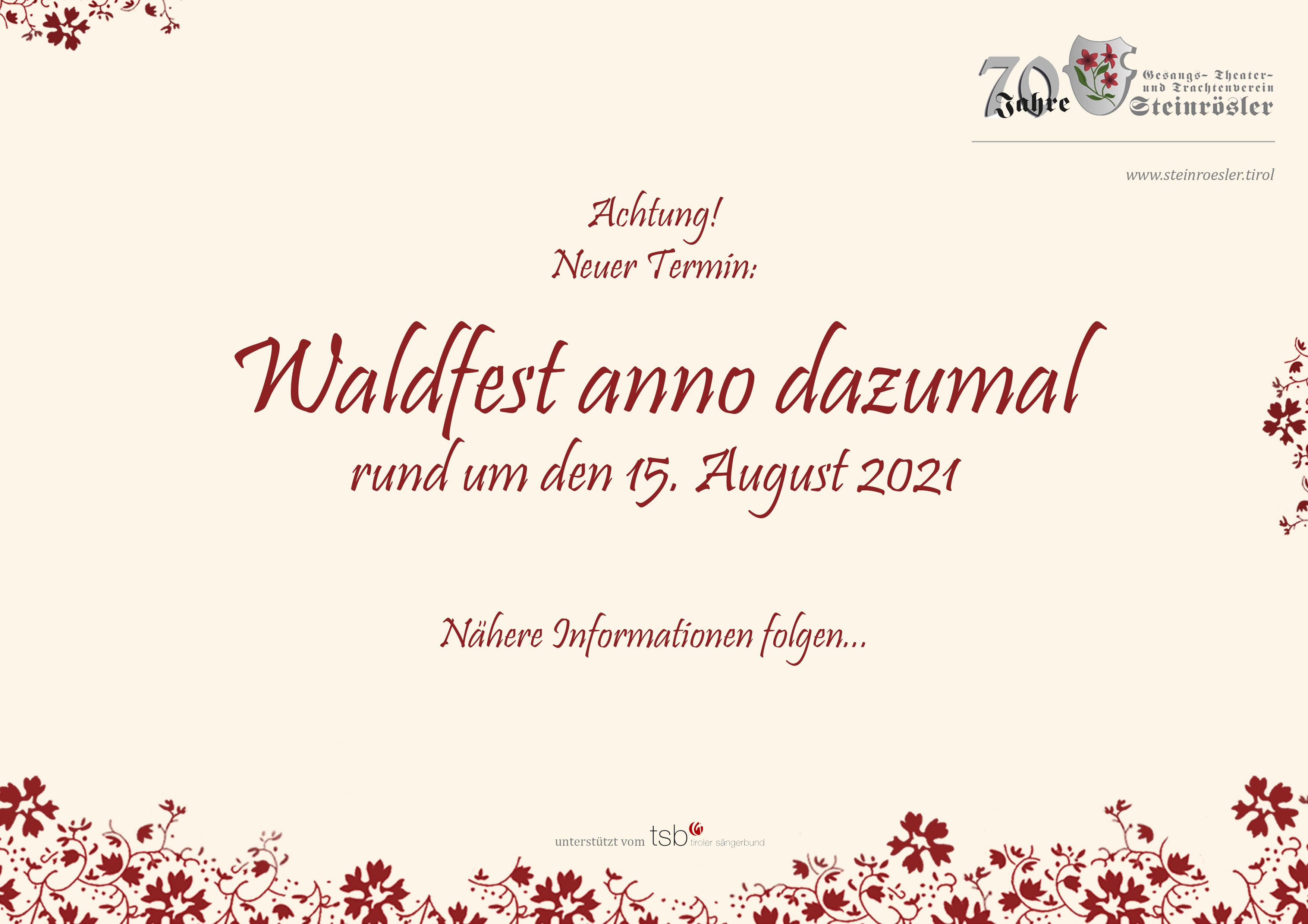 Terminaviso_Waldfest anno dazumal_2021